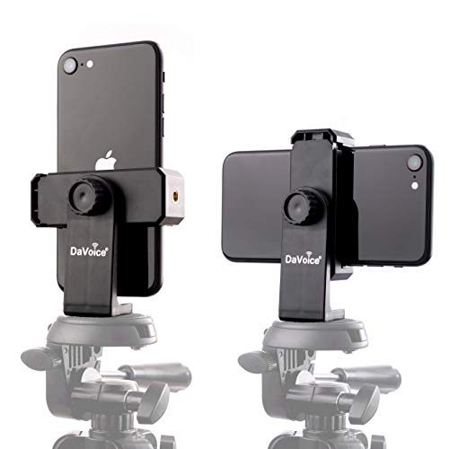 DaVoice Tripod Phone Mount Adapter, 360 Rotating Holder, Compatible with iPhone Smartphone Camera Stand, Universal Cell Phone Attachment Clip Clamp