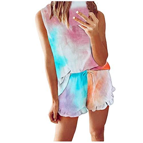 Xniral Damen Pyjama Schlafanzug Kurz Tie-Dye Bedruckte Nachtwäsche Nachthemd Hausanzug Set Kurzarm Rundhals-Ausschnitt für Sommer(D Mehrfarbig,S)