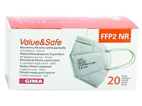 GIMA FFP2 Value & Safe Filter Mask, 5 capas, color blanco, ergonómico, plegable, a prueba de polvo, elásticos flexibles y extensibles, DPI clase III, 20 unidades en bolsas individuales IT,GR,RO,PL,CZ