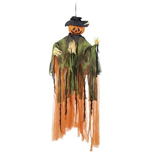 Boland- Decorazione Zucca Halloween Mr. Pumpkin, Arancio/Verde/Nero, 100 cm, 72035