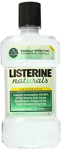 Listerine Naturals Antiseptic Mouthwash, Herbal Mint 33.8 Ounce (Value Pack of 4)