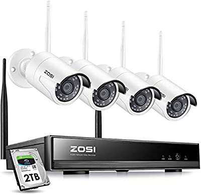 ZOSI 8CH 1080P Wireless Security Cameras System Outdoor with 2TB Hard Drive,H.265+ 8CH 1080P HD CCTV NVR and 4pcs 2.0MP 1080P Wireless Weatherproof IP Surveillance WiFi Cameras with 65ft Night Vision