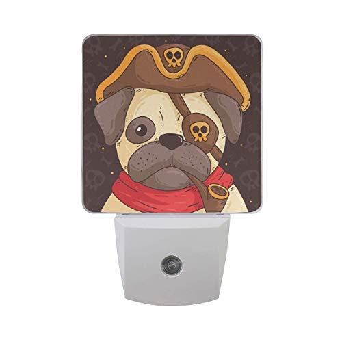 Lmpara Nocturna con Smart Pug lindo con disfraz de pirata Buena para la habitacin de los nios, el bao, el pasillo el armario o cualquier habitacin oscura