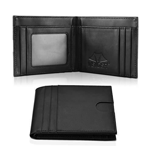 VBIGER Billeteras Hombre Piel Pequeñas Cartera de Cuero Tarjetero RFID 10 con Bolsillo para Monedas (Negro)