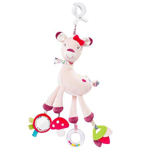 Fehn 076639 Activity-Spieltier Rehkitz / Motorikspielzeug zum Aufhängen mit Spiegel & Ringen zum Beißen, Spielen, Greifen und Geräusche erzeugen / Für Babys und Kleinkinder ab 0+ Monaten