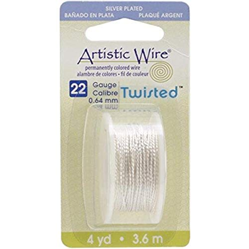 Beadalon Artistic Wire Twisted-Non-Tarnish Argent – Calibre 22, 4YD, d'autres, Multicolore