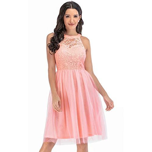 QUNLIANYI Abiti in Pizzo Senza Maniche Pink Party A-Line Abiti in Chiffon Elegante Abito Longuette da Donna S Rosa