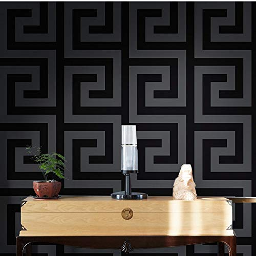 kengbi Frame is Easy to Installclean and Durabl Geometric Wall Papers Black Grey Luxury Satin Effect Large Greek Key Wallpaper Living Room Background Decor (Dimensions : 10mx53cm)