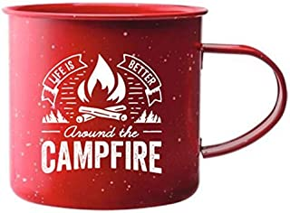 Create Your Space Camping Mug - Tin Mug with Campfire Design (Available in Single or Set of 2)