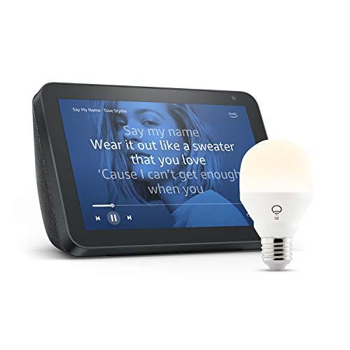 Echo Show 8, Tela de color antracita + bombilla inteligente LIFX Blanco