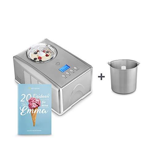 Eismaschine Emma 1,5 L mit selbstkühlendem Kompressor 150 Watt inkl. Edelstahl Zusatzbehälter, aus Edelstahl mit entnehmbarem Eisbehälter, inkl. Rezeptheft