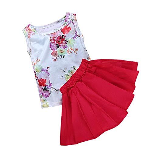 AIKSSOO baby kinderen meisjes bloementops mouwloos T-shirt + rode overhemdjurk outfits set zomerjurk rok voor kleine meisjes
