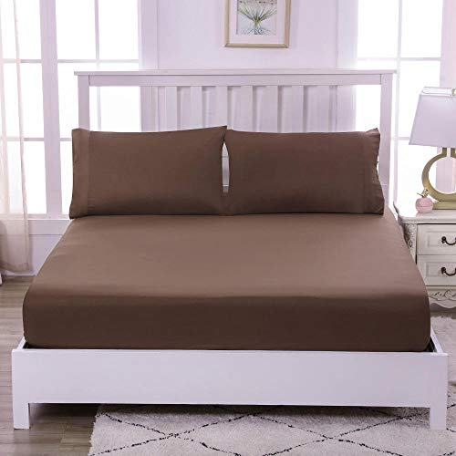 HPPSLT Bed Sheets Polyester Cotton Blend Soft and Comfortable Sheets Machine Washable Breathable Fabric Bed Sheet Simple Color-Brown_150X200cm