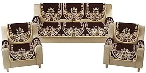 ANKRISH Royal Look Cotten Sofa Cover Set with Heavy Fabric Floral Design 5 Seater Sofa Cover and 6 Handle Cover-  Set of 16 Piece  - Coffee