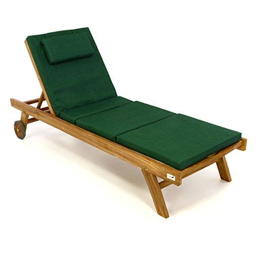 Divero Set Sonnenliege Holzliege Gartenliege Teakholz behandelt inkl. Räder, verstellbares Kopfteil, Auflage dunkelgrün