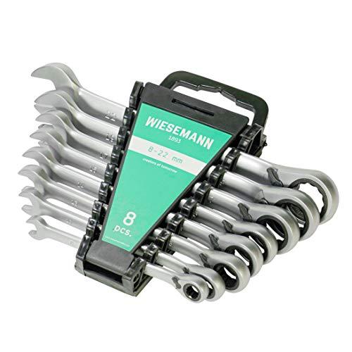 Wieseman 81567 - Juego de llaves de carraca (12 piezas, 8-19 mm, con 72 dientes, acero Q-30, cromado)