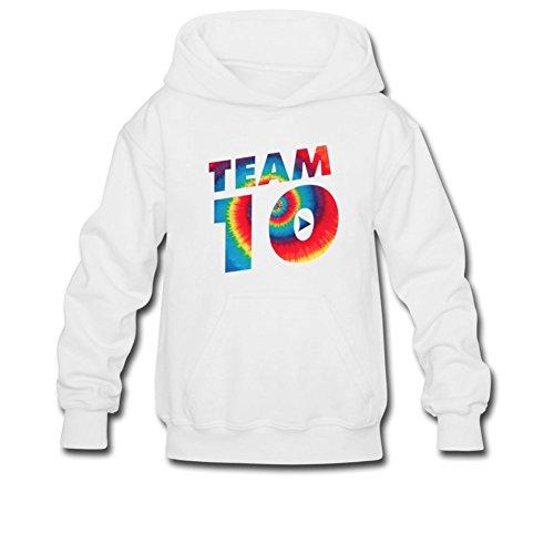 Aliensee Youth Tie Dye Jake Paul Team 10 Hoodie Sweatshirt Suitable For 10-15yr Old S White