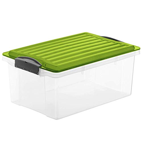 Rotho Compact Aufbewahrungsbox 13l mit Deckel, Kunststoff (PP) BPA-frei, grün/transparent, A4/13l (39,5 x 27,5 x 18,0 cm)