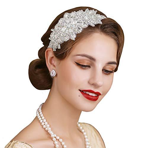 SWEETV Rhinestone Flapper Headband-Elastic 1920s Headpiece, Great Gatsby Hair Accessories for Women
