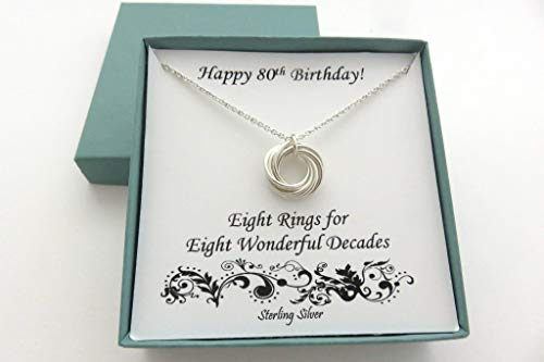 Eight Rings for Eight Decades Sterling Silver Necklace