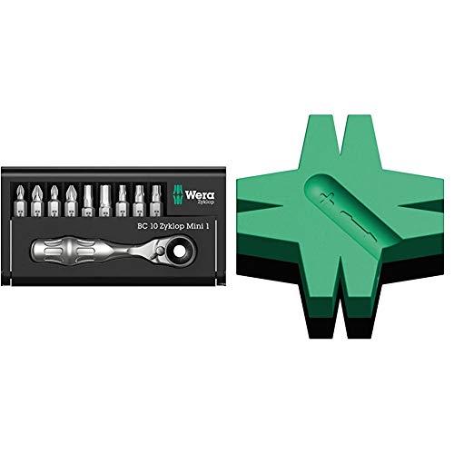 Wera 05073645001 Ratchet Set Kraftform Kompakt Zyklop Mini 1, Silver & Star Magnetiser / Demagnetiser, 05073403001