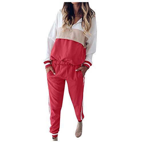 Sllowwa Damen Freizeitanzug Einfarbige Jogginganzug Trainingsanzug Sportanzug Freizeitanzug Sets Sweatshirt und Hose S-2XL