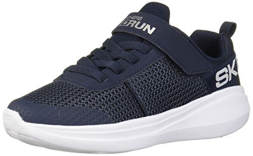 Skechers Boys' GO Run Fast THARO Trainers, Blue (Navy Textile/Navy Synthetic/White Trim NVY), 12 (30 EU)