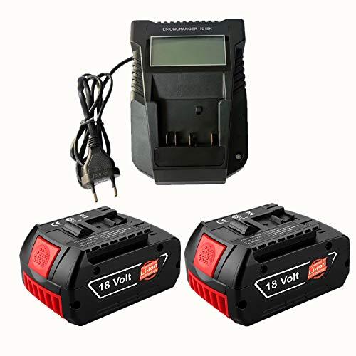 2 batteries de rechange au lithium 18 V 5,0 Ah avec chargeur rapide (LED) pour Bosch 18V BAT609 BAT609G BAT618 BAT618G BAT619 BAT619G BAT610G 2607336169 2607336170