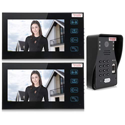 Juego de videoportero de 7 pulgadas, 2 monitores, huella digital, contraseña, tarjeta de identificación, desbloqueo remoto, videoportero, utilizado en villas, apartamentos, casas(ENCHUFE DE LA UE)