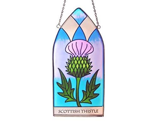 Royal Tara Gothic Glasmalerei | Irische Handbemalte Glasfensterscheibe | Sonnenfänger mit Schottische Distel Thistle