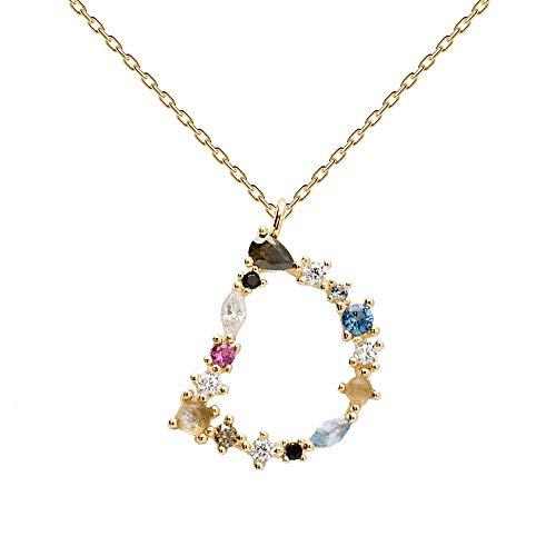 PDPAOLA - Collar Letra D - Plata de Ley 925 Bañada en Oro de 18k - Joyas para Mujer