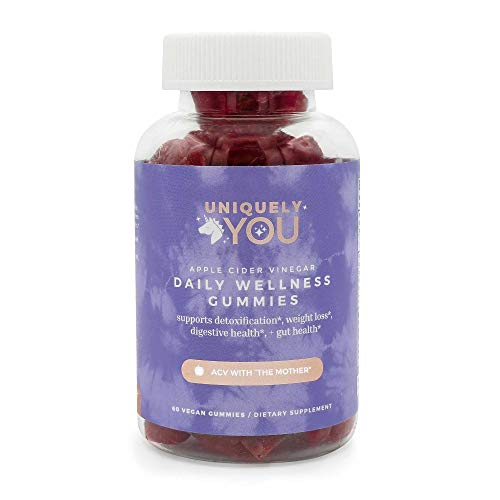 Uniquely You Organic Apple Cider Vinegar Immunity Gummies W/Mother, Beetroot, Cranberry, B12 & B9, Chewable Metabolism Boost & Detox, Alternative to ACV Capsules - Women, Men & Kids (Single)