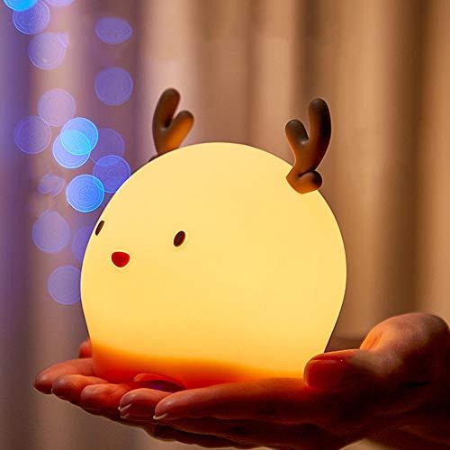 MOMSIV Luz de Noche Bebé Lámpara Multicolor Recargable Luz Nocturna Infantil Niños Luces LED de Noche Forma Ciervo, 4 Modos, 6 Colores, Regalo de Cumpleaños y Fiestas