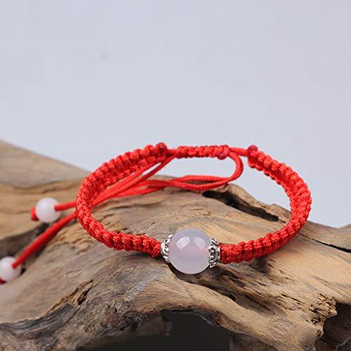 SimpleLife rote Schnur Armband, handgefertigte buddhistische Armband Tibet Achate Perlen Glück Armreifen für Schutz Unisex