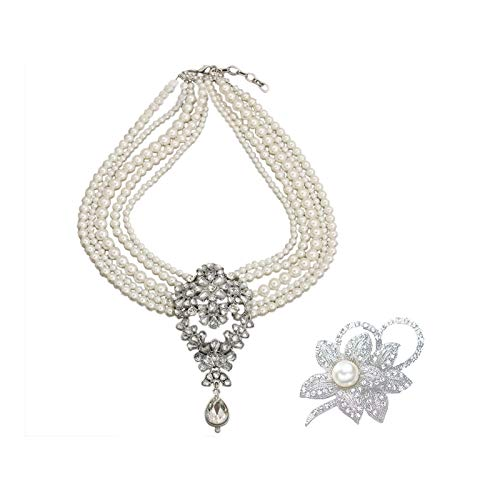 Nrpfell 1 Pcs Vintage Multi-Pearls Crystal Pendant Necklace Fashion Chunky & 1 Pcs Classy Flower Brooch Pin