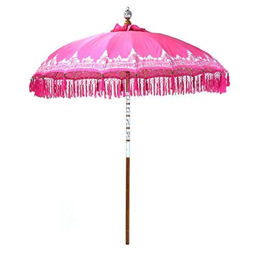 Oriental Galerie Bali Sonnenschirm Balinesischer Schirm Garten Baumwolle Sonnenschutz Handarbeit Retro Vintage Dekoschirm 2-teilig ca.180 cm Pink Silber mit Fransen