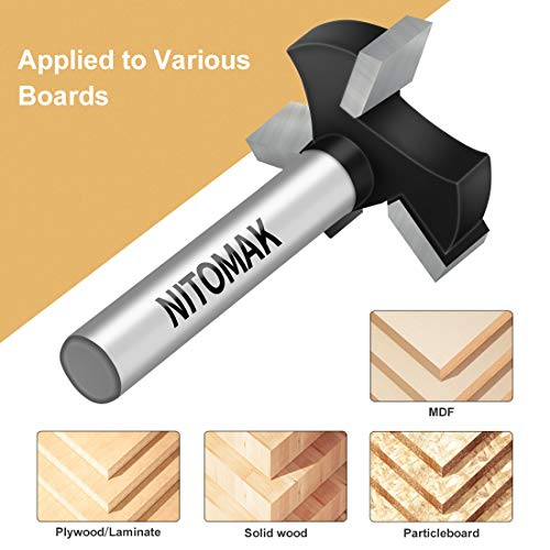 CNC Spoilboard Surfacing Router Bits, 1/4 inch Shank 1 inch Cutting Diameter, Slab Flattening Router Bit Planing Bit Wood Planing Bit DadoPlaner Bit by NITOMAK (Carbide)