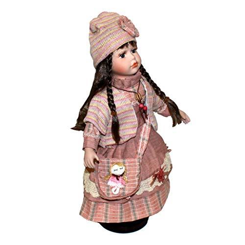 Muñeca de Porcelana de 40cm con Soporte, Chica Vestida con Sombrero para Ser Disfrutado por Coleccionistas, 4 Estilo 44x16x13cm - Rojo