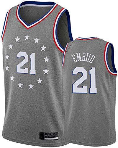 BMSGM Camisetas para Hombre-NBA Philadelphia 76Ers # 21 Joel Embiid Camiseta De Baloncesto Sin Mangas Camiseta Deportiva, Malla De Tela Transpirable,A,L(175~180CM/75~85KG)