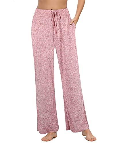 Pantalones Casuales de Pierna Ancha de Cintura Alta para Mujer, Pijama de Salón con Cintura Elástica con Cordón, Adecuado para el Hogar, el Sueño y el Ejercicio(Rosa, X-Large)