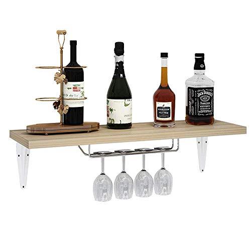 zyifan Soporte de pared para botellas de vino, estantería de madera con estante para vinos, fácil de colgar, estante para copas de vino, decoración creativa para salón, comedor, bar