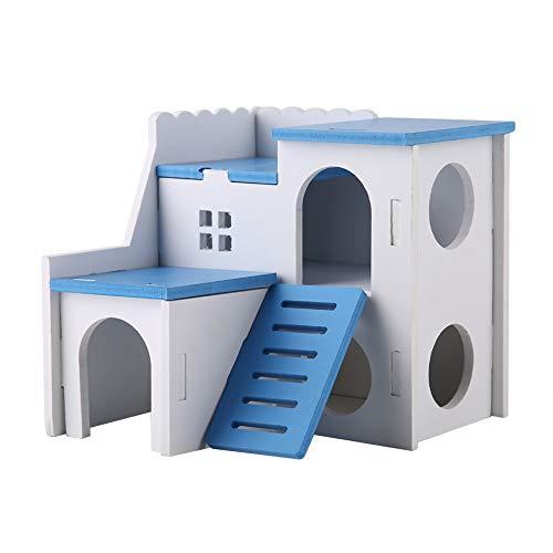 Winnfy Hamster Versteck Hütte Haus Hamster Spielhaus Holz Montiert Villa Haustier Nest Haus Doppelschichten Zimmer Blau