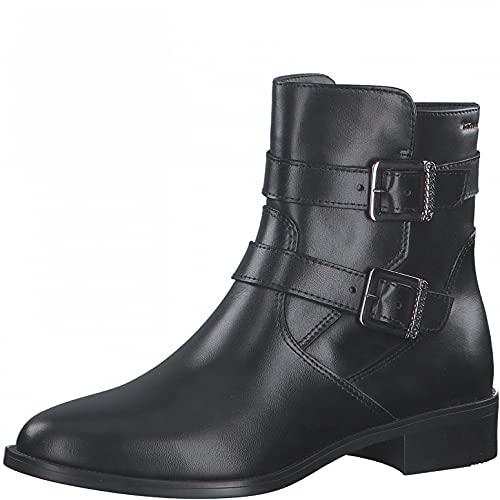 Tamaris Damen Stiefeletten, Frauen Biker Boots,TOUCHit-Fußbett,uebergangsschuhe,uebergangsstiefel,flach,Boots,Stiefel,Bootee,Black,37 EU / 4 UK