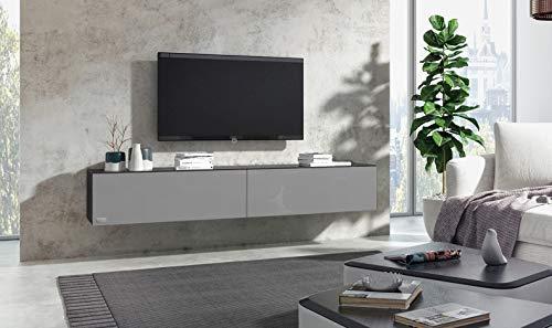 Wuun® 180cm/Grau-Hochglanz (Korpus Schwarz-Matt)/8 Größen/5 Farben/TV Lowboard TV Board hängend Hängeschrank Wohnwand/Somero