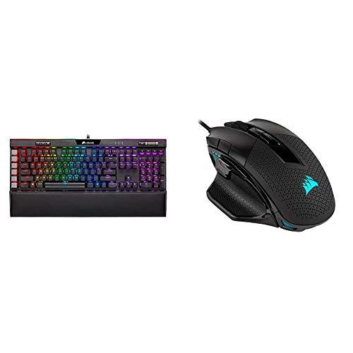 Corsair K95 RGB Platinum XT Mechanical Gaming Keyboard, Backlit RGB LED, Cherry MX RGB Brown, Black & Nightsword RGB - Comfort Performance Tunable FPS/MOBA Optical Ergonomic Gaming Mouse, Black