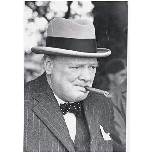 wzgsffs Winston Churchill Smoking Cigar Poster And Prints Wall Art Print On Canvas For Living Room Home Bedroom Cafe-20X28 Inchx1 Frameless