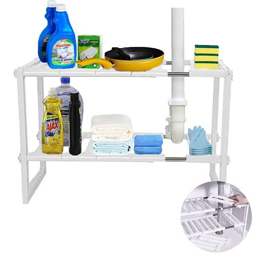 Yancorp Estante organizador extensible de 2 niveles para debajo del fregadero, multifuncional, ampliable, organizador de cocina,...