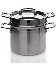 Le Creuset 3-laags pastapan met deksel en zeef, Ø 20 cm, roestvrij staal, 5,0 l volume, geschikt voor alle warmtebronnen, incl. inductie, zilver