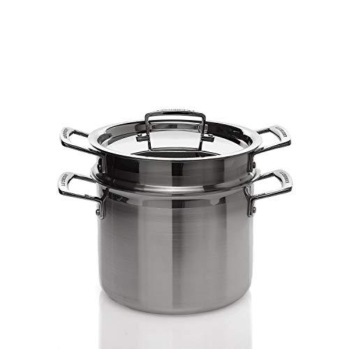 Le Creuset 3-Ply Olla para pasta con tapa y escurridor, Ø 20 cm, acero inoxidable, volumen 5,0 L, para todo tipo de fuentes de calor (incl. inducción), metálico