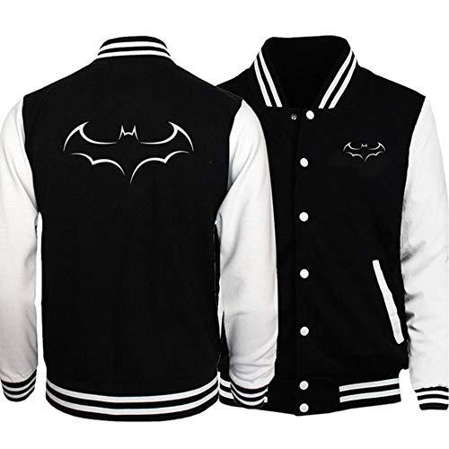 FHKGCD Cool Jacket Bomber Batman Baseball Vêtements Bomber Vestes pour Hommes À Capuche Hip Hop Streetwear, Noir Blanc, 2XL